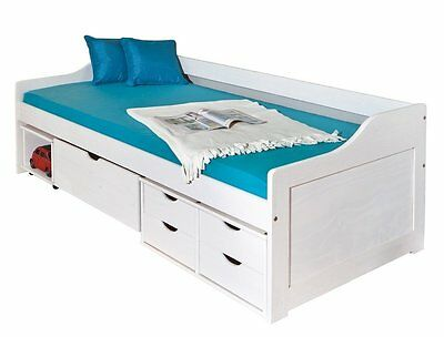 Floro 90X200Bed With Compartments And Drawers. Size 97X206X70H.whitesolid Pine
