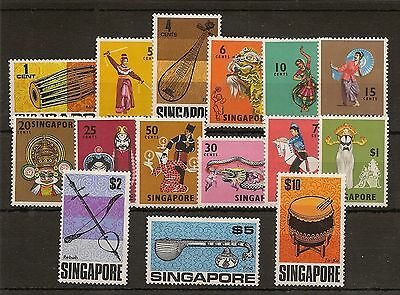 Singapore 1968-73 Qeii Musical Instruments To $10 Sg101/15 Never Hinged Mint