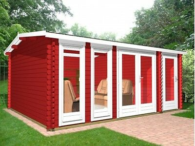 5.1m x 3.9m 40mm Log Cabin/ Ideal for Garden Office/2x separate rooms!!!