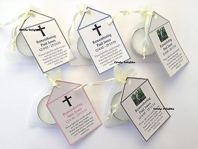 20 Remembrance  , Funeral DIY Organza bag, Candle & Personalised Tag Favours