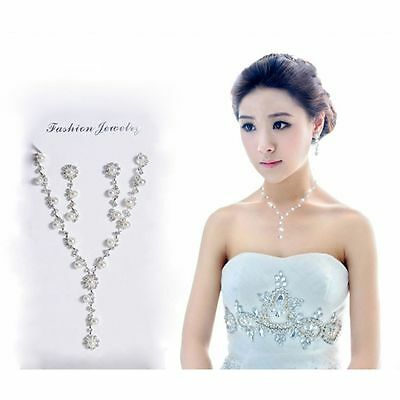 Rhinestone Gift Party Bridal Silver Plated Set Jewelry Necklace Crystal