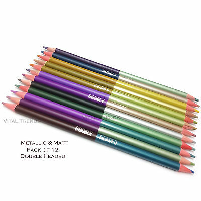 12 X Metallic Matt Pencils Drawing Sketching Artist Picture Coloured Pencil Draw