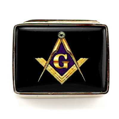 Enamel Masonic Freemasons Compass Pill Trinket Box Solid 925 Sterling Silver