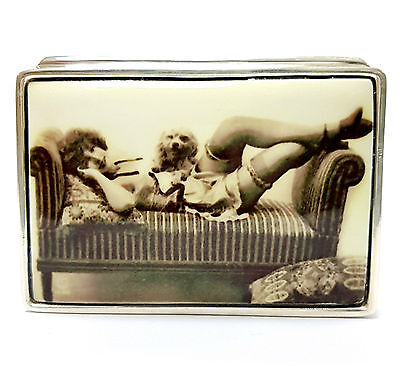 Large Enamel Edwardian Style Erotic Beauty With Dog Pill Box 925 Sterling Silver
