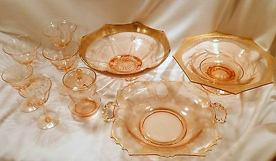 Collection of 9 Pieces Pink Elegant Glass: 3 Bowls, 3 Wines, 2 Cordials, Mustard