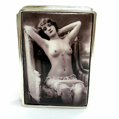 Large Sterling Silver Hallmarked 1910's Enamel Erotic Beauty Pill Snuff Box
