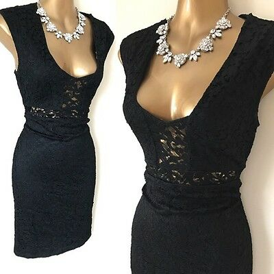 RIVER ISLAND Dress Size 10 Black Lace Evening Occasion Party Wiggle Stretch.
