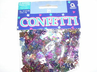 BRAND NEW PACKET OF ASSORTED  COLOUR SMALL 21  METALLIC CONFETTI 14g