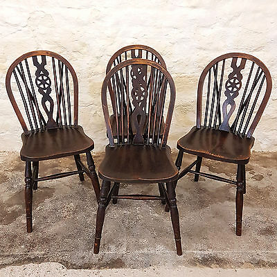 Antique Set of 4 Stained Oak Wheel Back Windsor Kitchen Dining Chairs C1900