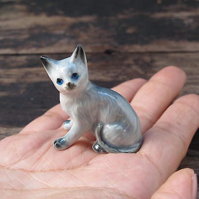 Gray Cat Sitting Figurine Cats Ceramic Cat Pottery Animals Collectibles
