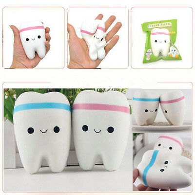 Squeeze Stretch Squishy Teeth Bread Slow Rising Cartoon Toy Chain Strap Gift