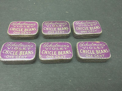 1906 Violet Chicle Beans Chewing Gum Advertising Tin