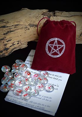 25 GLASS RUNE STONES & Deep RED BAG Wicca Pagan Witchcraft Runes Pentacle