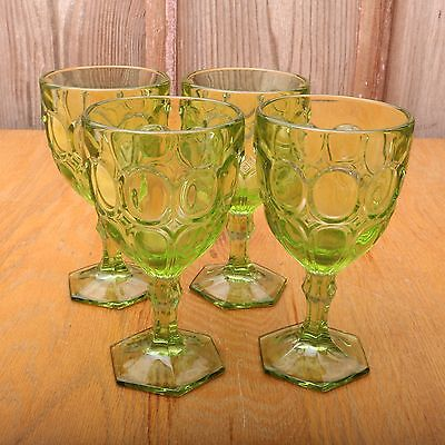 4 Vintage Green Glass Goblet Wine Cup Oval Thumbprint Pattern