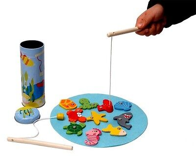 MAGNETIC FISHING GAME IN TIN - Kaper Kidz - Wooden Pieces PRETEND PLAY GAME 2yr+