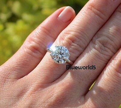 3.50CT 6 Prong Set Off White Real Moissanite Engagement Ring 925 Sterling Silver