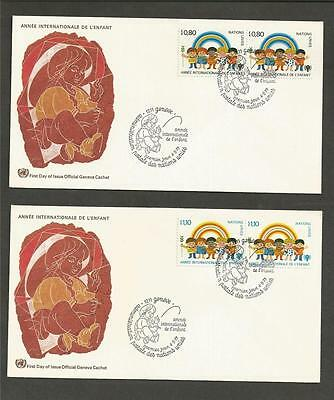UNITED NATIONS - GENEVA- 1979 International Year of Child - 2  FIRST DAY COVERS.