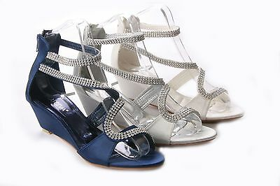 Womens Ladies Mid Wedge Satin Diamante Wedding Party Sandals Shoes Size 3-8