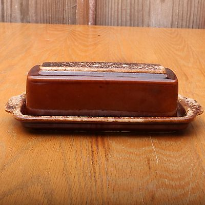 Vintage Hull USA Oven Proof Brown Drip Glaze Butter Dish With Lid