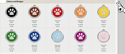 Enamel Paw - all colours - Red Dingo Dog Tag Small, Med, Large. FREE ENGRAVING