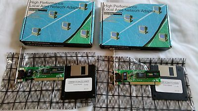 2X High Performance Lan Adapters 10 100 Mbps Pci Cards Boxed Plus Disks