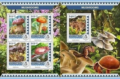 Z08 IMPERFOARTED SLM16502ab SOLOMON ISLANDS 2016 Mushrooms MNH ** Postfrisch Set