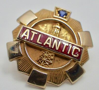 Vintage 10K Yellow Gold Atlantic Petroleum Employee Service Pin Blue Stone