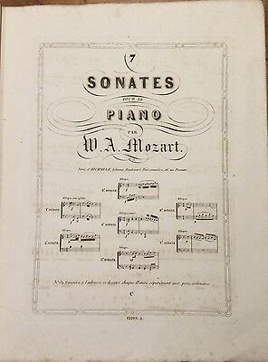 Ancienne Partition Musique Oeuvres Completes Piano Mozart 7 Sonates
