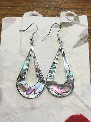 MEXICAN EARRINGS Sterling Silver Plated Mother of Pearl Abalone Teardrop Design.