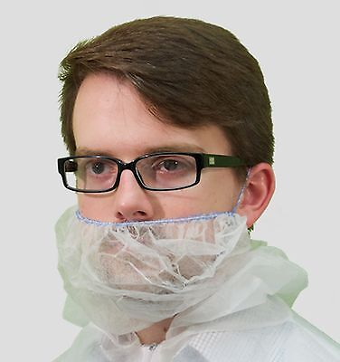Disposable White Polypropylene Beard Covers, Case of 1000, Clean Room, Food