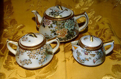 Vintage Kutani Japan Lidded Teapot, Sugar Bowl & Creamer Floral Design Gold Trim