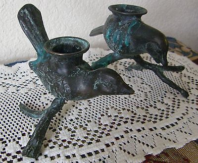 Vintage--2 Birds On Branch Bronze Candle Holders Unusual As Found Nice
