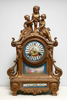Beautiful Antique c19th Sèvres Chiming Gilded Clock, P H Mourey, Charles Vagne