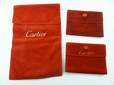 CARTIER 3x SUEDE TRAVEL WATCH JEWELRY ACCESSORY CASE POUCH BAG SET
