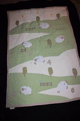 Pottery Barn Kids Counting Sheep Lamb Baby Infant Nursery Blanket Quilt Toddler
