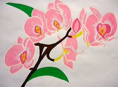 Artwork floral Pink Orchid watercolour