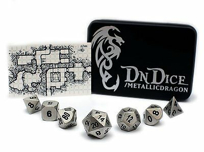 DnDice Dice Cast Metal Silver Poly Dice Set | Ultimate Role-Playing Accessory