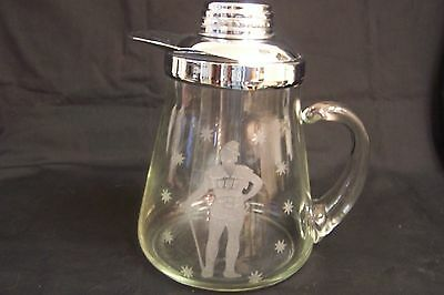 Vintage Glass Pitcher with Chrome Lid -  Holds 60 oz. Woodsman Theme