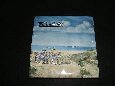 Beverage Cocktail Paper Napkins Seaside Bicycle Sand Ocean Sailboats Decoupage