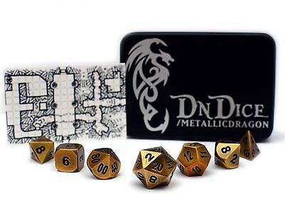 DnDice Dice Cast Metal Gold Poly Dice Set | Ultimate Role-Playing Accessory