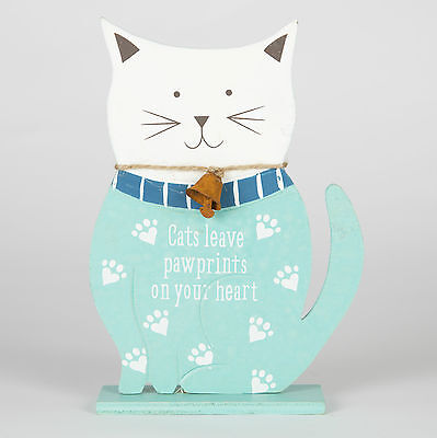 Sass & Belle Wooden Cats Leave Paw Prints On Your Heart Standing Decoration