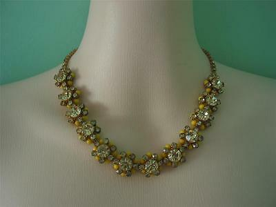 Fabulous vintage yellow crystal and celluloid star flower necklace