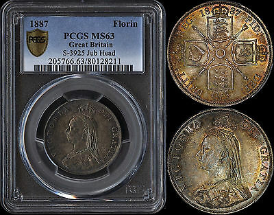 Great Britain Florin 1887 (Pcgs Ms63) *rainbow Toned*