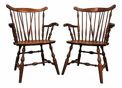 Pair of Bent Bros. Maple Brace-Back Windsor Arm/Dining Chairs