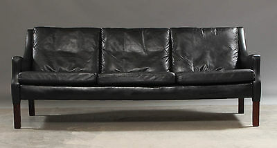 VINTAGE DANISH MOGENSEN STYLE 3 SEATER LEATHER AND BRAZILIAN ROSEWOOD SOFA 60s