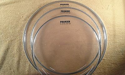 """Set of three Premier """"CL Extra Batter"""" clear drum heads. 12"""" 13"""" 16"""". Single Ply"""