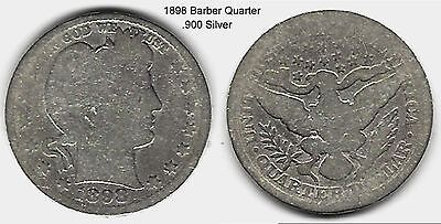 US 1898 Barber Quarter .900 Silver Coin ... Take A Look !!