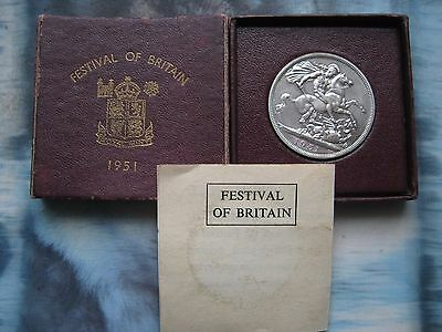 UK British 1951 Festival of Britain 5 Shilling Crown King George VI Coin boxed