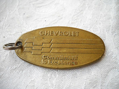 Vintage Chevrolet Commitment to Excellence Brass Key Chain Fob