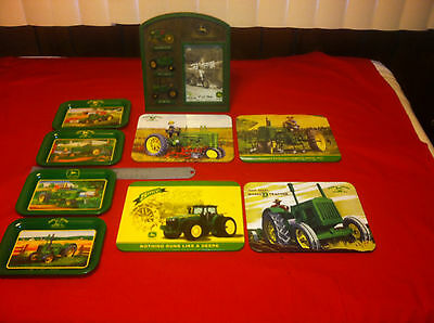 lot of John Deere Dealer  collectibles,  9 items  picture frame, tin trays